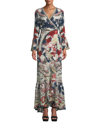 Twin Shadow Silk Flounce Wrap Dress