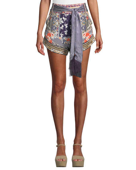 printed-silk-high-cut-shorts-with-tie by camilla