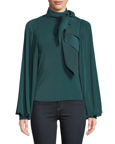 Jersey Puff-Sleeve Top with Scarf