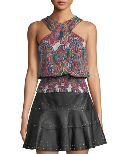 Lorenza Printed Cross-Front Silk Top