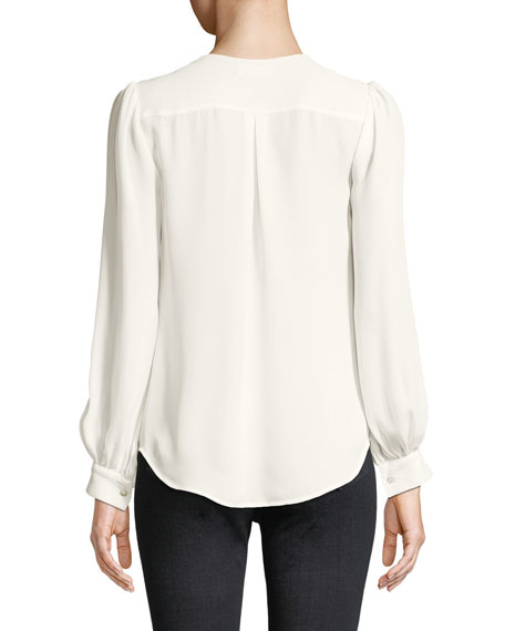 Giana Pleated Button-Front Silk Blouse