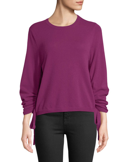 AUTUMN CASHMERE Drawstring-Sleeve Crewneck Cashmere Sweater in Purple