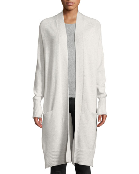 AUTUMN CASHMERE Open-Front Maxi Cashmere Cardigan in Gray