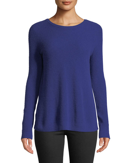 AUTUMN CASHMERE Reversible Crossover-Back Crewneck Cashmere Sweater in Spectrum