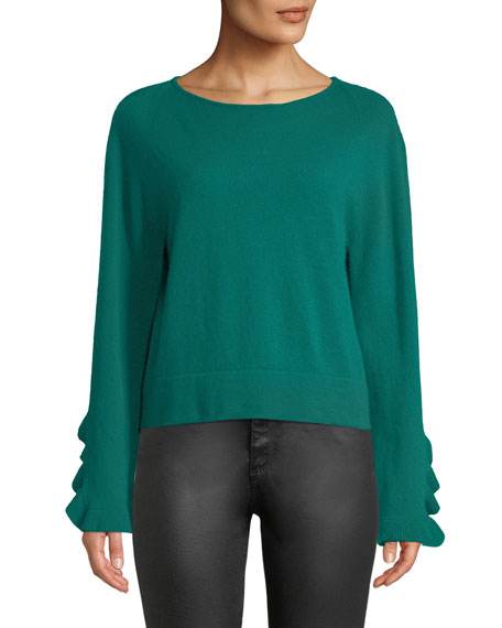 AUTUMN CASHMERE Ruffle-Sleeve Crewneck Cashmere Pullover Sweater in Green