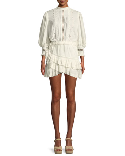 Lorelei Embroidered Eyelet Frill Mini Dress