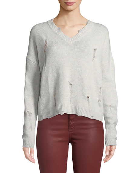 AUTUMN CASHMERE Distressed V-Neck Boxy Cashmere Sweater in Gray