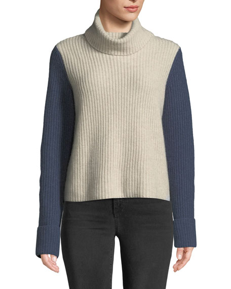 AUTUMN CASHMERE Cuffed Colorblock Turtleneck Cashmere Sweater in White/Orange