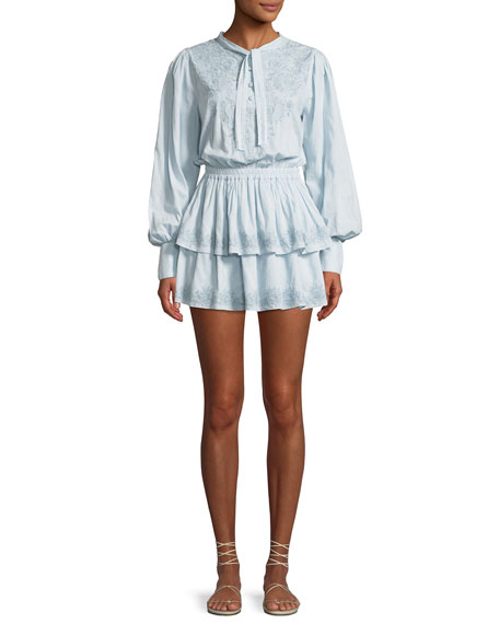 Zoe Embroidered Cotton Short Dress