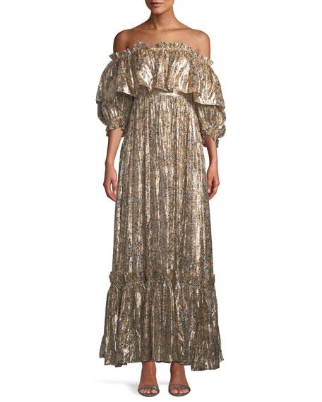 Loveshackfancy Tara Metallic Ruffle Off-Shoulder Maxi Dress