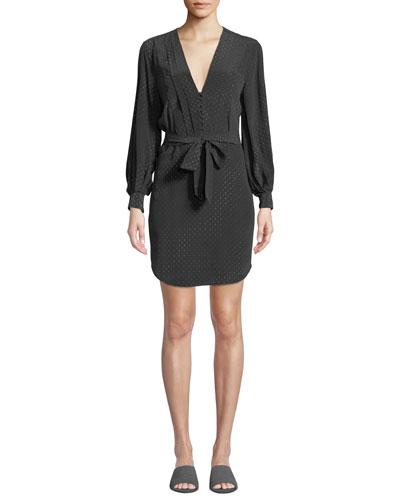 Meadow Long-Sleeve Belted Printed Silk Dress