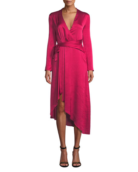 Adisa Long-Sleeve Wrap Satin Dress