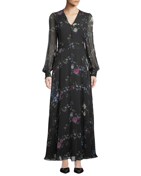 Equipment Clemense V-Neck Long-Sleeve Floral-Print Silk Maxi