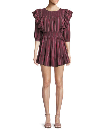 Cassi Striped Ruffle 3/4-Sleeve Mini Dress