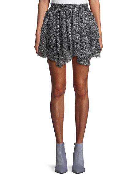 42536dacd0 Loveshackfancy Tiered Ruffle Stars Silk Mini Skirt