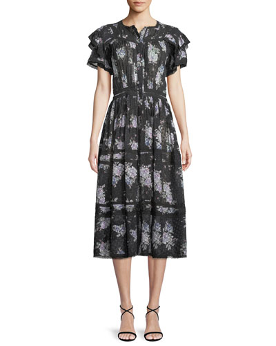 Claribel Floral Silk Lace Midi Dress