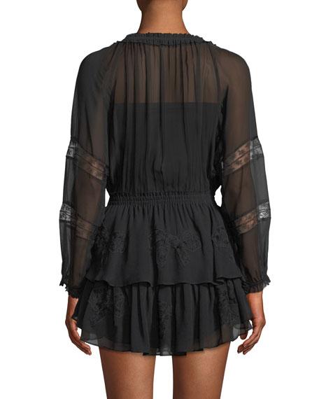 Long-Sleeve Silk Popover Dress