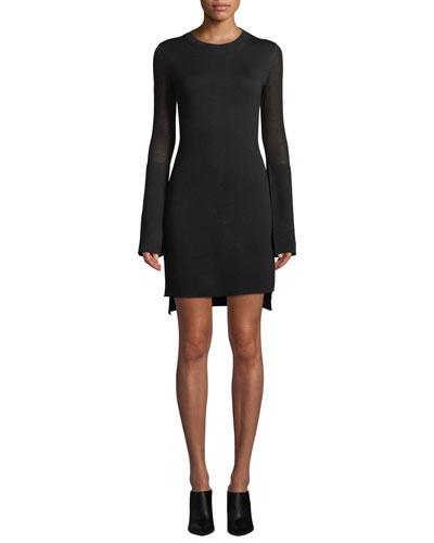 Long-Sleeve Split-Cuff Merino Wool Dress