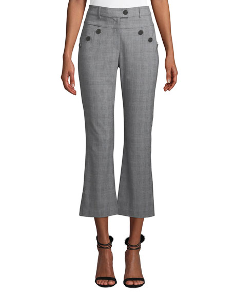 Likely LEIGHTON PLAID CROPPED PANTS WITH BUTTON DETAILS