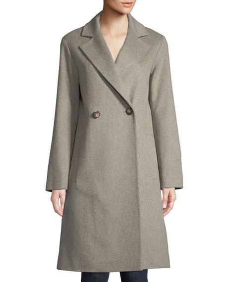 Fleurette Long Double-Breasted Wool Coat