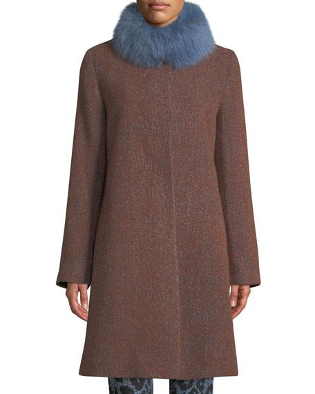 Fleurette Long Alpaca & Wool-Blend Coat w/ Fur