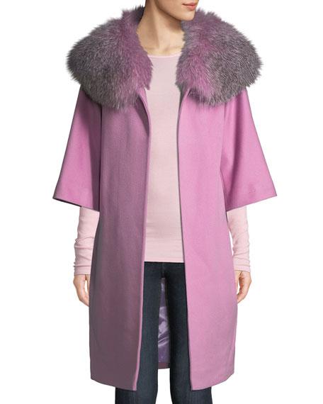 3a7b42bdd Fleurette Wool Cocoon Coat w/ Oversized Fur Collar