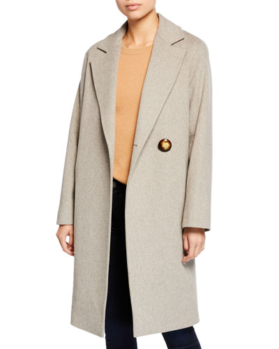 Wool Asymmetric One-Button Midi Coat