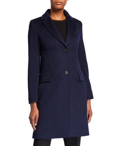 Midi-Length Top Coat w/ Two-Button Front
