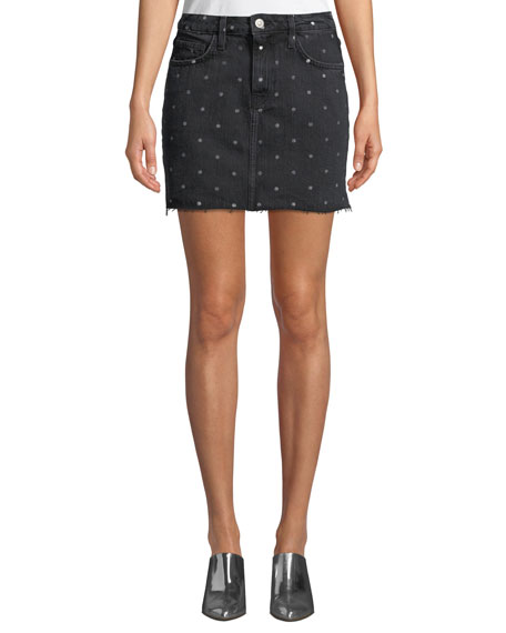The 5 Pocket Dot-Print Denim Mini Skirt