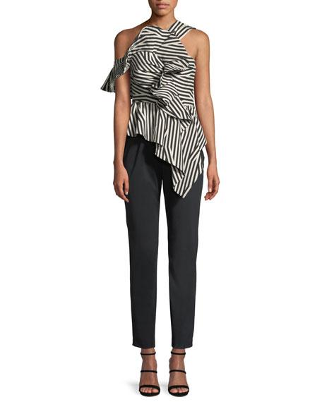 Abstract-Stripe Asymmetric Ruffle Jumpsuit