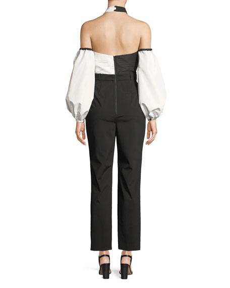 Colorblock Halter Blouson-Sleeve Jumpsuit