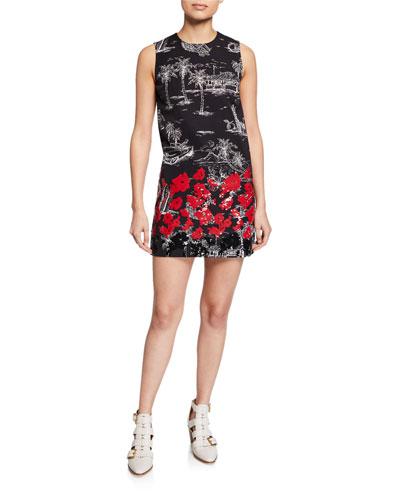 Printed Sequin Sleeveless Short Dress