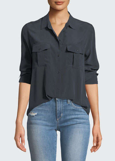 Rhett Button-Front Long-Sleeve Pocket Shirt