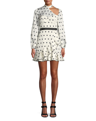 Long-Sleeve Satin Star-Print Frill Mini Cocktail Dress