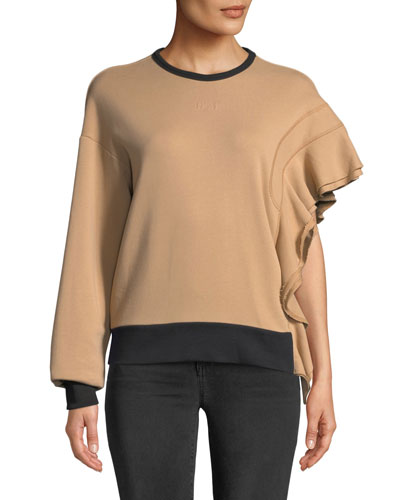 Asymmetric Ruffled Sweatshirt