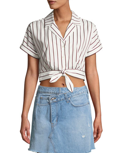 Striped Short-Sleeve Tie-Waist Cropped Shirt