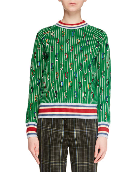 Carven STRIPED PRINTED MERINO WOOL PULLOVER SWEATER