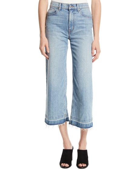 Dylan Wide-Leg Raw Culotte Jeans in Blue