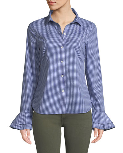 Printed Bell-Sleeve Button-Front Shirt