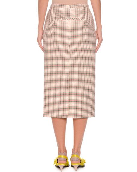 A-Line Long Checkered Skirt