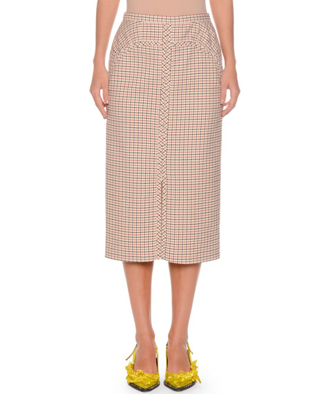 A-Line Long Checkered Skirt