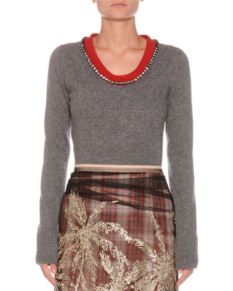 Image 1 of 1: Jeweled Scoop-Neck Long-Sleeve Wool Sweater
