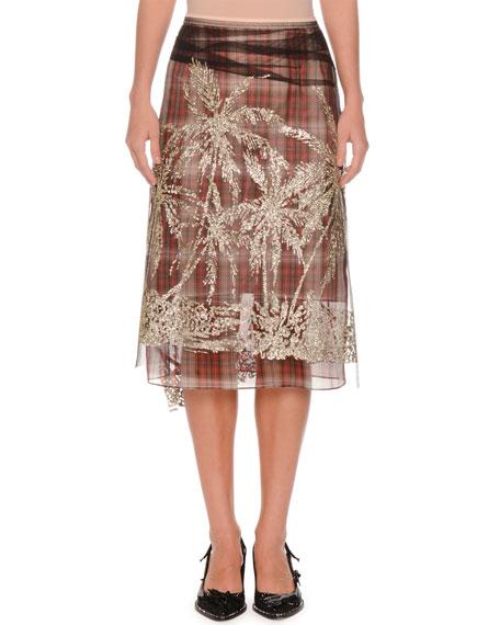 No. 21 Plaid A-Line Embellished Tulle Skirt