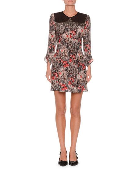 No. 21 Jewel-Neck Ruched-Sleeve Floral-Print Silk Mini Dress