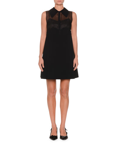 Collared Sleeveless A-Line Crepe Mini Dress