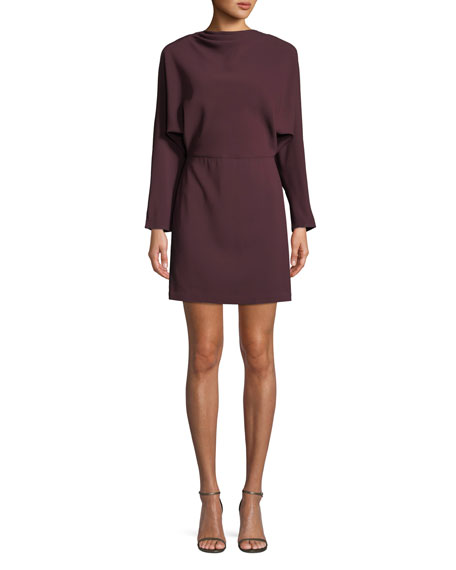 Marin Long-Sleeve Cowl-Neck Dress