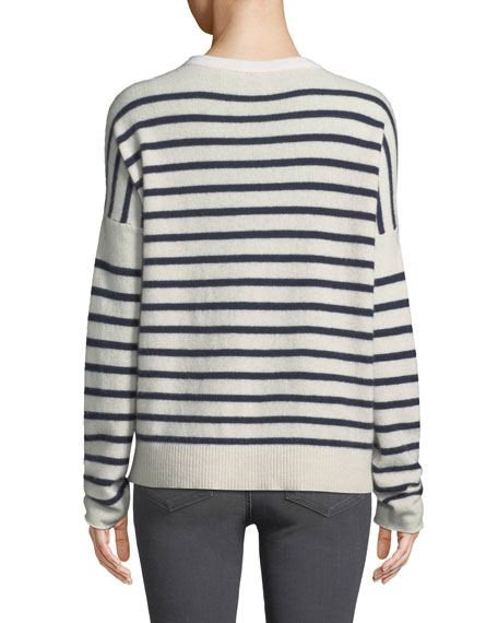 Block-Striped Cashmere Crewneck Sweater