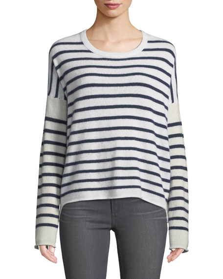 ATM Anthony Thomas Melillo Block-Striped Cashmere Crewneck