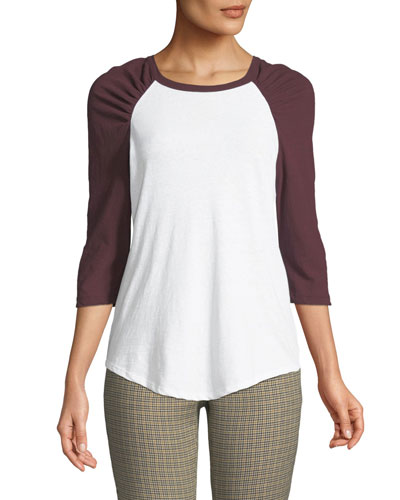 Elio Shirred Raglan-Sleeve Tee