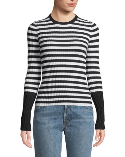 Striped Wool Ribbed Crewneck Sweater